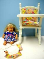 "1999 Zapf 8"" Baby Doll, Blond Hair, 12"" Plastic Highchair, Bib"