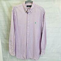 Ralph Lauren Men's L Shirt Purple White Striped Button Down Green Pony Logo #E