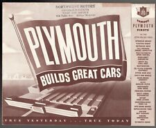 1948 - 49 Plymouth automobile foldout brochure poster in excellent condition