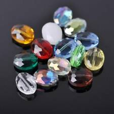 50pcs Mixed 16x12mm Oval Faceted Crystal Glass Loose Beads for Jewelry Making