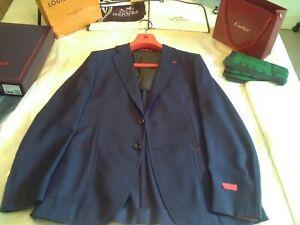 NWT £1990 Isaia Napoli lk Cucinelli Kiton blue Cortina blazer S 42 UK EU 52