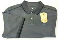 Tommy Bahama Men's M, L, XL Black & Grey Wicking Polo Shirt Bala Shark MSRP $89