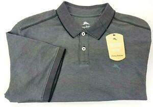 Tommy Bahama Men's M, L, XL Black & Grey Wicking Polo Shirt Bala Shark MSRP $89