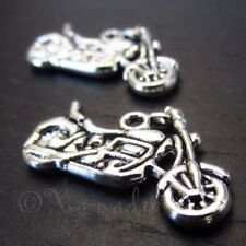 Motorcycle 24mm Antiqued Silver Plated Charm Pendants C3298 - 10, 20 Or 50Pcs