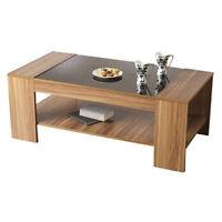 Coffee Reading Book Lounge Table - with Shelf - Walnut Veneer - Black Gloss Top