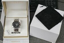 MENS VERSACE 29G99D009 S099 V RACE WATCH BLACK FACE STAINLESS GMT ALARM 46MM