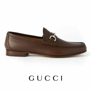Men's Gucci Brown Leather Loafers Horse Bit Shoes Brand New With Box RRP £535