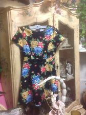 Forever 21 Contemporary Retro Floral Fit & Flare Dress Size M A-Line Black Dress