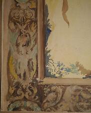 Aquarelle Ancienne Projet de Décoration Fleurs Putti Ornementation c.1870 XIXe