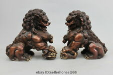 China Red Bronze Copper Guardian Foo Fu Dog Escort Door Lion Ball Pair Statue