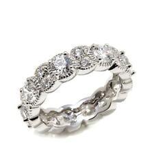 STERLING SILVER  DIAMOND SIMULANT ART DECO VINTAGE STYLE ETERNITY RING SIZE 7