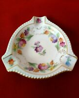Vintage Porcelain Schumann Bavaria Collectible Ashtray Small Floral & Gilt Dish