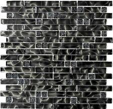 Glasmosaik schwarz mix Wand Küche Bad WC Fliesenspiegel Art:WB87-MV708| 1 Matte