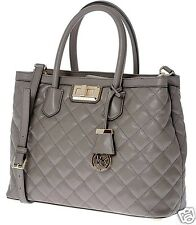 Michael KORS BORSA/BAG Hannah Large Satchel Quilted Leather Cinder/Taupe NUOVO!