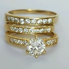1.5 C Round 3 piece trio 14K Yellow Gold Engagement Wedding Band Ring Set S 7 10