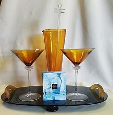 UNION STREET GLASS AMBER MARTINI SET WITH TRAY *NEW*