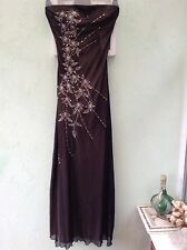 LADIES LINED BANDEAU LONG DRESS SIZE 10 FROM JANE NORMAN BLACK WITH BEIGE LINING