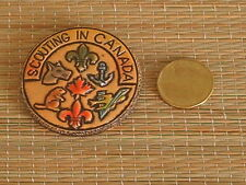 Vintage Scouts Canada, Scouting in Canada Pin wood hand painted.2 inch.