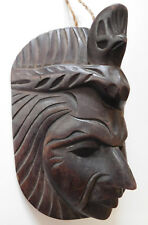 Wooden Mayan wall mask Tribal head wood carving Quetzal bird Guatemala 7.5""
