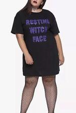 "HOT TOPIC Torrid T-SHIRT DRESS ""RESTING WITCH FACE"" PLUS SZ 2X Goth"