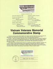 #8438 20c Vietnam Veterans Stamp - Scott #2109 USPS Souvenir Page