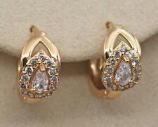 18K Gold Filled - 2-Layer Waterdrop Clear Topaz Zircon Hollow Lady Hoop Earrings