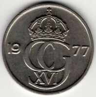 1977 SWEDEN 50 ORE WORLD COIN NICE!