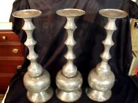 "(3) VINTAGE LARGE OTTOMAN TURKISH SILVER WASH COPPER 24"" PILLAR CANDLE HOLDERS"