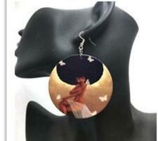 African American wood Earrings - Butterfly Afro Queen