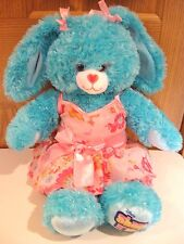 "Build A Bear bunny rabbit turquoise 18"" Disney Shake It Up with pink dress BABW"