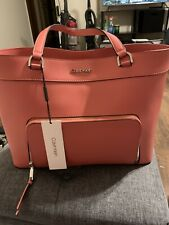 Calvin Klein Louise Leather Tote Women's Shoulder Bag Pink New With TagsMSRP 178