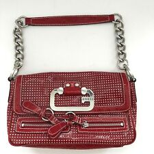 Guess Shoulder Patent Red Bag Vegan Leather Chain Strap G Guess Logo Perforated