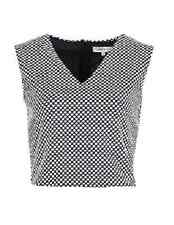EX M&S BLACK WHITE SPOT PRINT REAR ZIP LINED SLEEVELESS STRETCH CROPPED TOP  16