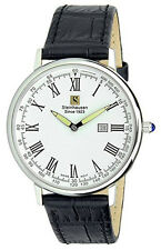Steinhausen Men's Altdorf Swiss Quartz Stainless Steel Black Leather Watch S0122
