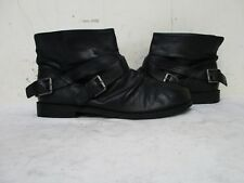 Nine West Miani Black Leather Slip On Slouch Ankle Boots Womens Size 7 M
