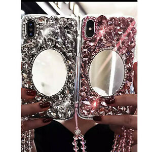NEW MIRROR RHINESTONE DIAMOND DESIGNER BLING DIAMANTE CASE COVER IPHONE SAMSUNG