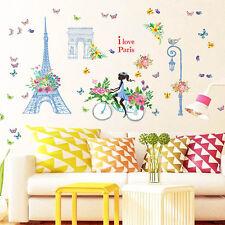 Flower Girls Paris Eiffel Tower DIY Removable Wall Sticker Art Vinyl Decor Decal