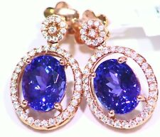 6.09CT 14K Gold Natural Tanzanite Diamond Drop Vintage AAA Engagement Earrings