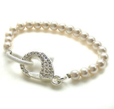 John Wind Braclet Silver Pave Clasp Stretchy Pearl Maximal Art Fashion Jewelry