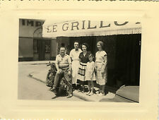 PHOTO ANCIENNE - VINTAGE SNAPSHOT - MOTO MOTOCYCLETTE CAFÉ - MOTORBIKE PUB