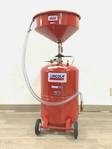 """Lincoln 3614 Pressurized 20 Gallon Portable Fluid Drain Tank with 18"""" Bowl GREAT"""