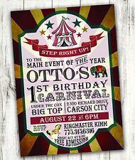 Carnival Circus Birthday Party Invitation Digital File Free Shipping