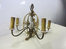 Vintage 5 Arm Fancy Brass Chandelier w/Slag Glass Accents