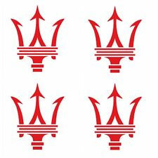 8 pc set Maserati Wheel Center Cap Vinyl Sticker Decal Logo Overlay Gloss Red