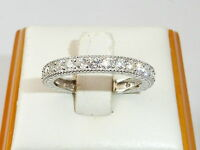 Damen Art Deco Design 925 Silber Brilliant Cut White Sapphire Ewigkeit Ring