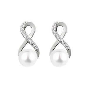 Sterling Silver Infinity Knot Natural Freshwater Pearl Stud Earrings
