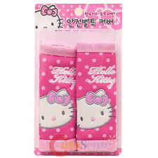 Hello Kitty 2pc Seat Belt Cover Shoulder Pad Auto Accessories Pink Polka Dots