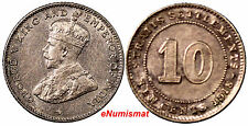 Straits Settlements George V Silver 1918 10 Cents XF Condition KM# 29a