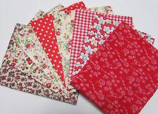 8pc Set Quilting Fabric Bundle 50x45cm Red Asstd Pre-Cut Charm Cotton
