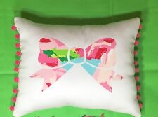 New Bow pillow made with Lilly Pulitzer Hotty Pink First Impression fabric